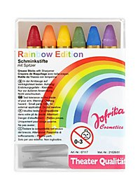 Six rainbow make-up pencils with sharpener