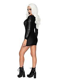 Skeleton rhinestone dress black