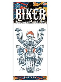 Skelett Biker Klebe-Tattoo