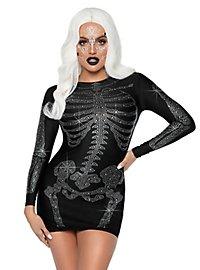 Skelett Strasskleid schwarz