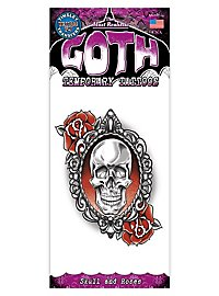 Skull and Roses Gothic Temporary Tattoo