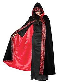 Skull velvet cape black-red