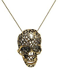 Skull with Rhinestones Necklace gold