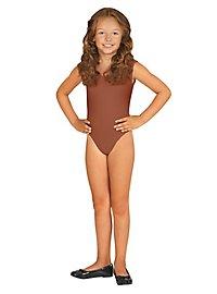 Sleeveless body for children brown