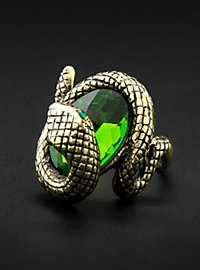 Snake Ring with Green Rhinestone