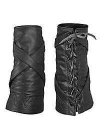 Soft Leather Vambraces with cross straps black
