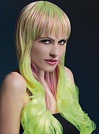 Soft Waves mit Pony Perücke gelb-lila
