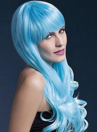 Soft Waves mit Pony Perücke hellblau