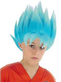 Son Goku Super-Saiyajin Perücke für Kinder blau
