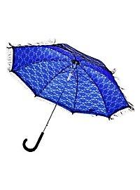 Sonnenschirm blau mit schwarzer Spitze