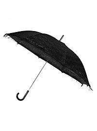 Sonnenschirm schwarz mit schwarzer Spitze