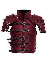 Späher Lederrüstung mit Oberschenkelschienen rot