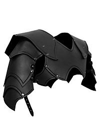 Spalières de seigneur de guerre en cuir noir