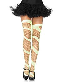 Spiral Diamond Mesh Stockings green