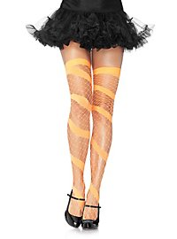 Spiral Diamond Mesh Stockings orange