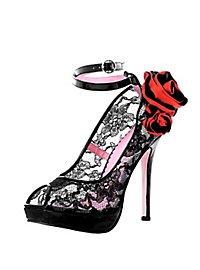 Spitzen High Heels mit Rosen