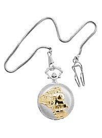 Steam Engine Pocket Watch silver