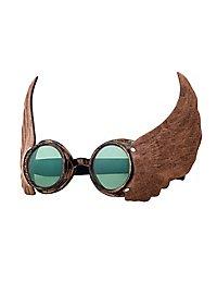 Steampunk Brille Aviator grün