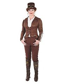 Steampunk Damenfrack mit Corsage braun