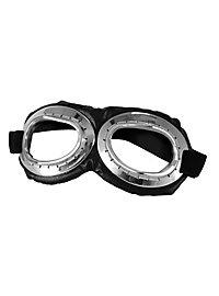 Steampunk Fliegerbrille silber-schwarz