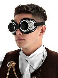 Steampunk Fliegerbrille silbern
