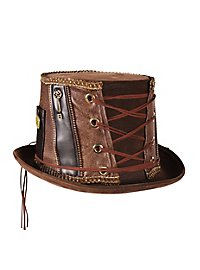 Steampunk Porkpie Hut braun