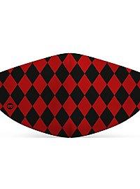 Stoffmaske Harlekin schwarz-rot