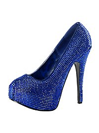 Strass High Heels royal blau