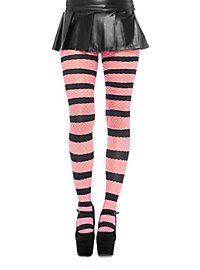 Striped Fishnet Pantyhose hot pink