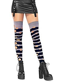Striped knee socks with holes grey-black