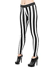 Striped leggings black-white