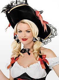 Striped Pirate Hair Bow black-white