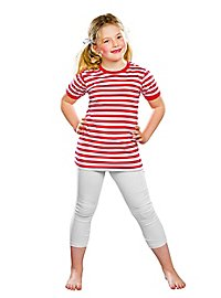 striped shirt for children semi-sleeved red-white