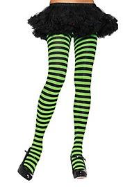 Striped tights black-light green