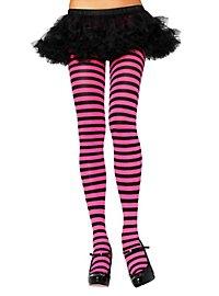 Striped tights black-magenta