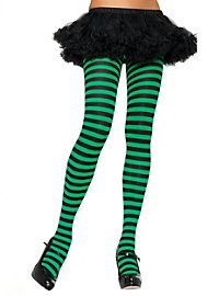 Striped tights black-maigreen