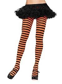 Striped tights black-orange
