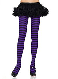 Striped tights black-violet