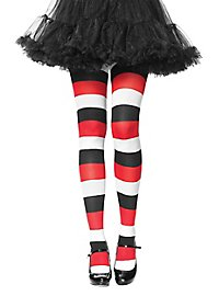Striped tights white-black-red