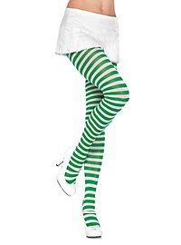 Striped tights white-green