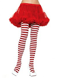 Striped tights white-red