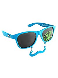 Sun-Staches Classic neon blue Party Glasses