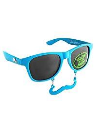 Sun Staches Classic neon blue Party Glasses