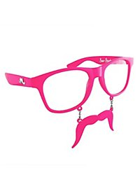 Sun Staches hot pink Party Glasses