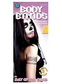 Tatouage décalcomanie pour le bras Dia de los Muertos avec crâne