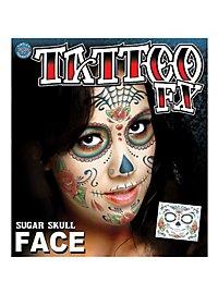 Tatouage décalcomanie visage crâne Dia de los Muertos