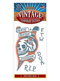 Totenschädel Vintage Klebe-Tattoo