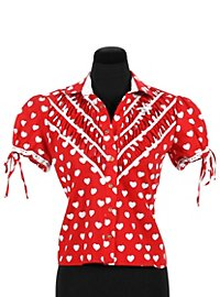 Traditional Heart Blouse red-white with short sleeves