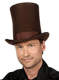 Très grand chapeau haut-de-forme marron