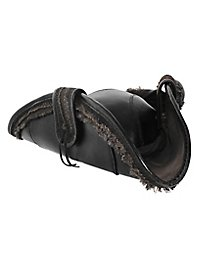 Tricorn hat made of leather black